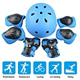 JIM'S STORE Kid's Protective Gear Set Adjustable Helmet 7pcs Advance Knee Pads Elbow Pads Wrist Protector for Scooter Cycling Roller Skating Skateboard Blue
