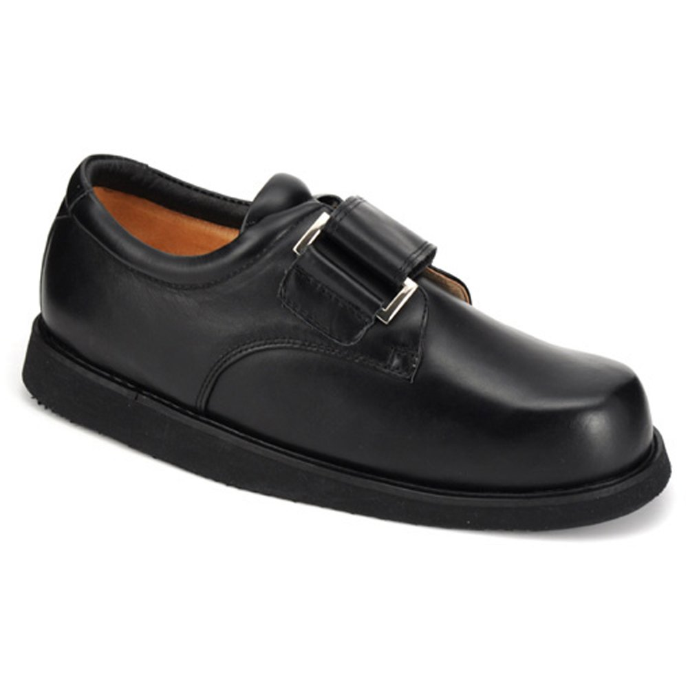 Apis Mt. Emey 502-C Men's Therapeutic Triple Depth Charcot Shoe Leather Velcro -6.5 X-Wide (4E) Black Velcro US Men|Black