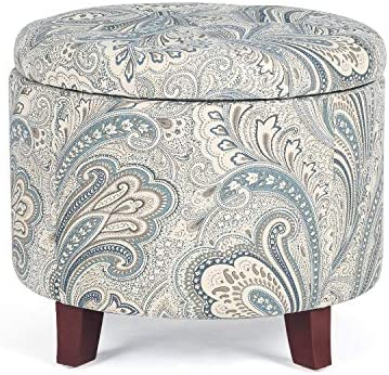 Decent Home Storage Ottoman Tufted Round Bench Ottoman Footstool Seat for Bedroom Enterway Office, Yellow 1 Flower