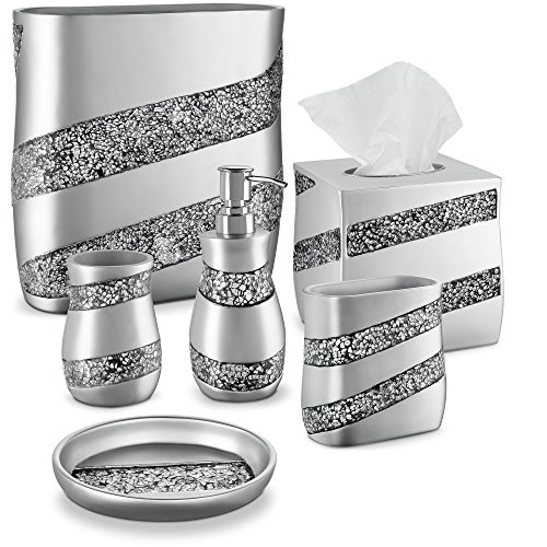 (DWELLZA Silver Mosaic Bathroom Accessories Set, 6 Piece Bath Set Collection Features Soap Dispenser, Toothbrush Holder, Tumbler, Soap Dish, Tissue Cover, Wastebasket)