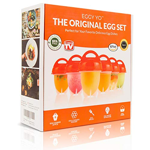 EGGY YO Hard Boiled Egg Maker: 5 in 1 Egg Cooker Set with 6 Silicone Cups, Holder, Brush, White Separator, Timer - Make Hard Boiled Eggs Without the Shell - As Seen on TV Egg Boiler (The Best Way To Peel A Hard Boiled Egg)