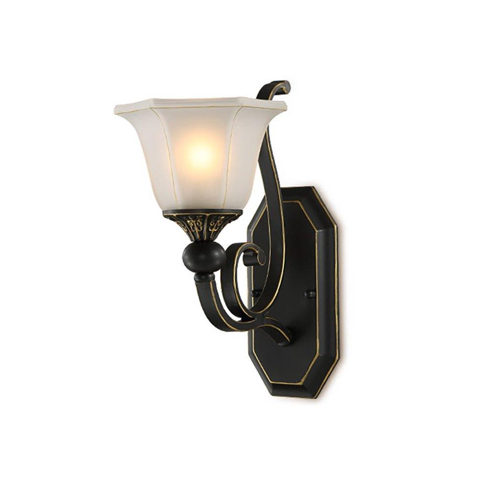 Unbekannt Dekorative Lichter Eisen Wandleuchte, Retro Wandleuchten Einfache Wohnzimmer Lichter Schlafzimmer Nachttisch Lampen Gang, Schwarz E27 (Größe   33  28  18cm)