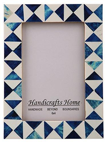Handicrafts Home Picture Photo Frame Indigo Moorish Quatrefoil Handmade Naturals Bone Frames Photo Size 4x6 Indigo-3 - Thanksgiving Gifts
