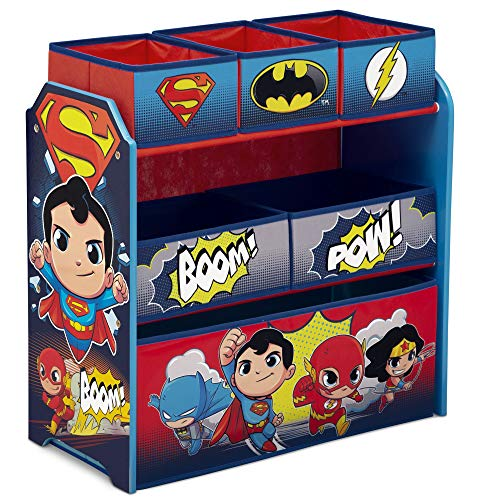 Delta Children Multi-Bin Toy Organizer, DC Super Friends | Batman | Robin | Superman | Wonder Woman | The Flash]()