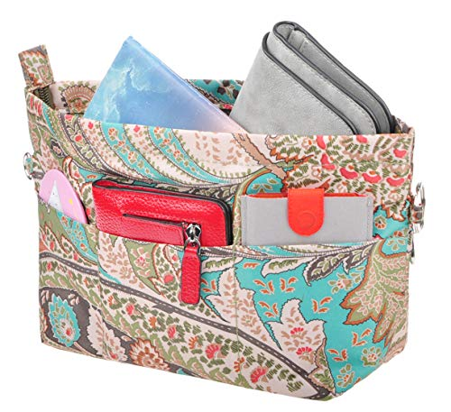 Vercord Handbag Purse Tote Pocketbook Organizer Insert Zipper Clousure 11 Pockets Peacock Flower Large