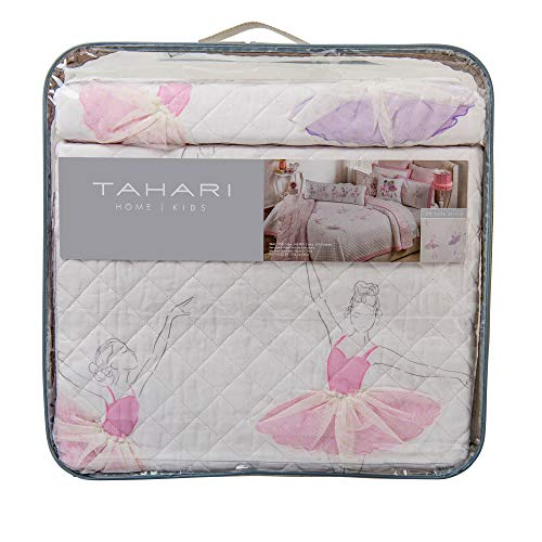 (Tahari Pretty Dancing Ballerinas Ballet Class Pastel 3D Tulle Skirts Twin Cotton Quilt Set Pink Purple on White Background )