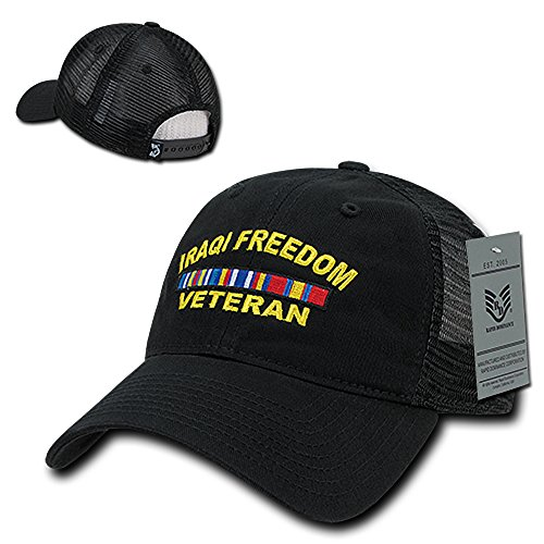 Rapid Dominance Iraqi Freedom Veteran Embroidered Low Profile Cotton Trucker Mesh Cap - ()