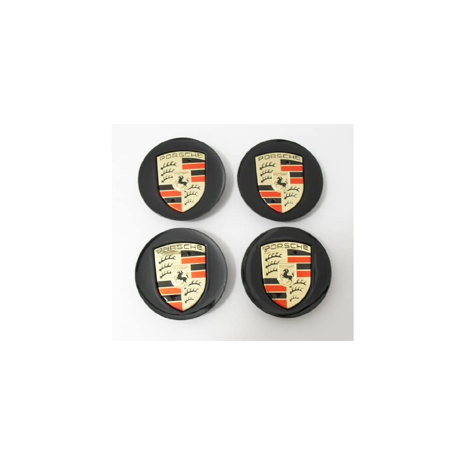 4pcs Set Porsche Black with Gold Wheel Center Caps 997 993 911 968 Cayenne Boxter Carrera