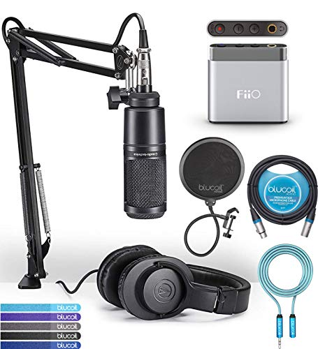 (Audio-Technica AT2020PK Streaming/Podcasting Pack Bundle with FiiO A1 Silver Portable Headphone Amplifier, Blucoil 10-FT Balanced XLR Cable, Pop Filter, 6' 3.5mm Extension Cable, and 5x Cable Ties)