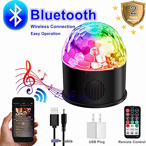 Disco Strobe Ball Bluetooth Speaker USB Charging Party Lights 2018 New Generation Sound Activated Rotating Machine Remote Control 9 Colors Lighting for DJ birthday Dancing Wedding
