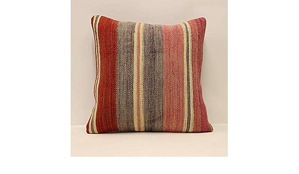 16x16 Pillow Case Handwoven Turkish Kilim Pillow Boho Lumbar Pillow Beeding G-1129 Ethnic Kilim Pillow Decorative Throw Pillow