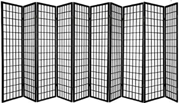 Amazon Com 10 Panel Room Divider Square Design Black Furniture Decor