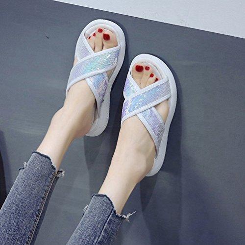 Femmes Plateforme Tongs Casual Paillettes Plat Mules Blanc Chaussures Ouvert Bling Mode Lanières Plage JITIAN 5afqp