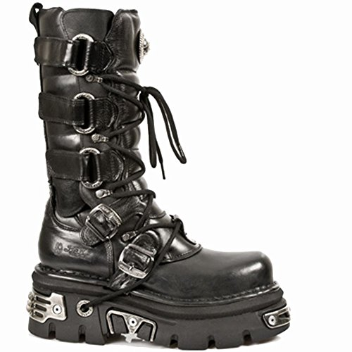 New Rock Men's Metallic Leather Black Boots M.474-S1 Black, Black