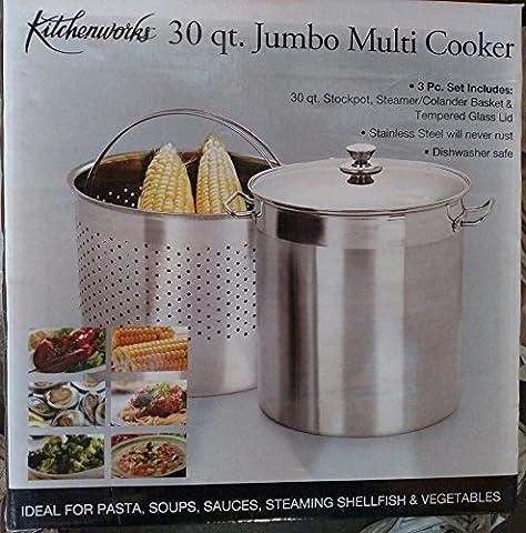 30 Quart Stainless Steel Jumbo Multi Cooker / Stockpot / Steamer / Colander - Clam Steamer Pot