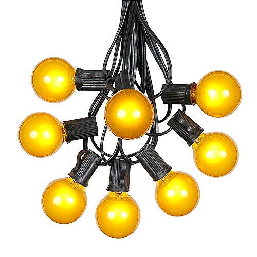 G40 Patio String Lights with 25 Yellow Globe Bulbs - Hanging Garden String Lights - Vintage Backyard Patio Lights - Outdoor String Lights - Market Cafe String Lights - Black Wire - 25 Foot