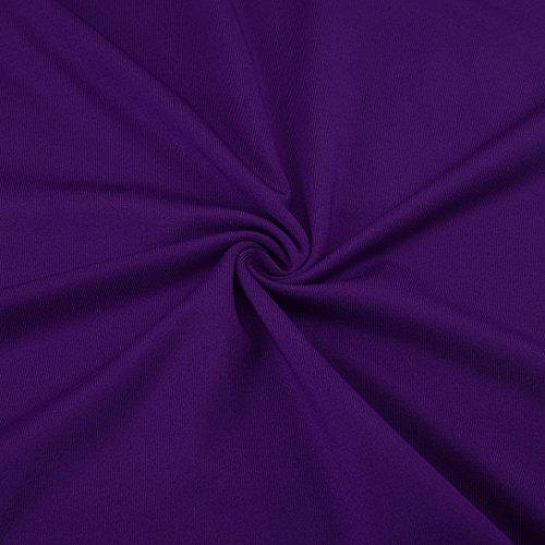 des de AMUSTER Chemise Shirt Profonde col Couleur V lache Haut Blouse Unie Longues Manches La Mode Trompette Sexy en Violet Femmes qwqrSEI