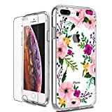iPhone 8 Plus Case, LUHOURI Clear iPhone 7 Plus Case with Screen Protector, Girls Women Heavy Duty Protective Hard Case with Slim Soft TPU Bumper Silicone Cover Phone Case for iPhone 8 Plus / 7 Plus