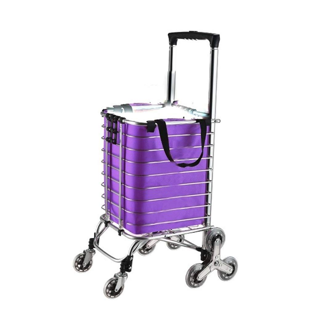 Bmwjrzd Foldable Shopping Trolley - Multi-Functional - Lightweight - Adjustable Luggage Grocery Cart - Purple Cloth Bag