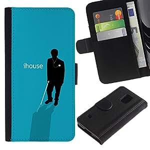 """JackGot ( IHouse - cartel divertido"""" ) Samsung Galaxy S5 V SM-G900 la tarjeta de Crédito Slots PU Funda de cuero Monedero caso cubierta de piel"""