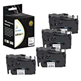 Catch Supplies 4 Pack Replacement TZeS231 Black on White 1/2 Inch (12mm) Extra Strength Laminated Label Tape - Length 26.2ft (8m) - For use with the Brother P-Touch Label Printers