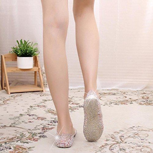Kunststoff Transer® Flach Damen Silber Schwarz Silber Einzelschuhe Atmungsaktiv Mokassins Sandalen PVC Hohl qz4prWqS7