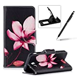 Leather Case for Samsung Galaxy J5 2017 J530,Flip Wallet Cover for Samsung Galaxy J5 2017 J530,Herzzer Stylish Pink Lotus Pattern Magnetic Closure Purse Folio Smart Stand Cover with Card Cash Slot Soft TPU Inner Case for Samsung Galaxy J5 2017 J530 + 1 x F