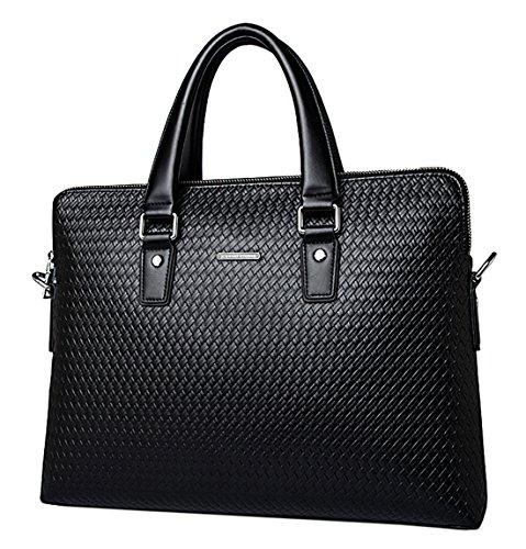 Saierlong Genuine Mens Shoulder Bag New Business Leather Laptop Black Briefcase dexorCB