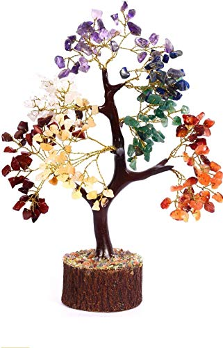DHYANARSH 7 Chakra Semi Precious Agate Stone Tree with Holistic Balancing Polished Agate Stone Tree