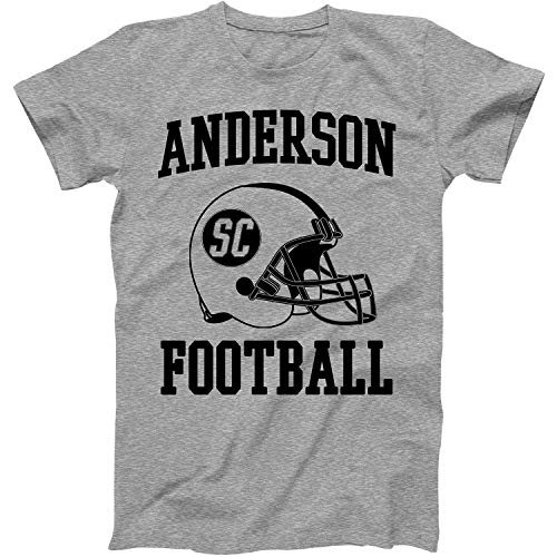 Vintage Football City Anderson Shirt for State South Carolina with SC on Retro Helmet Style Grey Size Large -