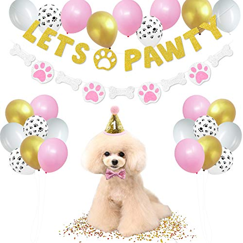 44 Pack Lets Pawty Puppy Girls Birthday Favors│Pet Adoption Party Supplies Kits Gold Glitter Banner Paws Print Balloons Pink and Gold Hat Bow Tie Doggie Bone Photo Props Ideas Woof Ruff Decoration]()