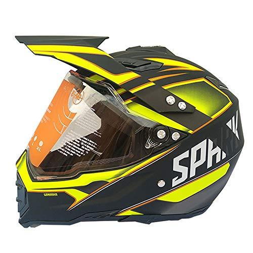 XPSMTK Adult Full Face Motorcycle Helmet DOT Dual Sport Helmet Off Road Motocross UTV ATV Motorcycle Enduro,Yellow,L ()