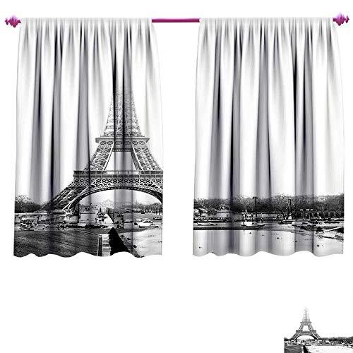 Eiffel Tower Room Darkening Wide Curtains The Eiffel Tower in Paris Historic Famous Landmark Wintertime Picture Print Waterproof Window Curtain W84 x L72 Black White ()