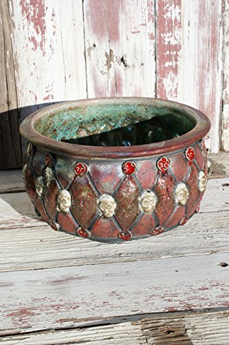Large Decorative Metallic Copper Raku Bowl with Skulls #07, Handmade Decorative Centerpiece, Unique Ceramic Bowl