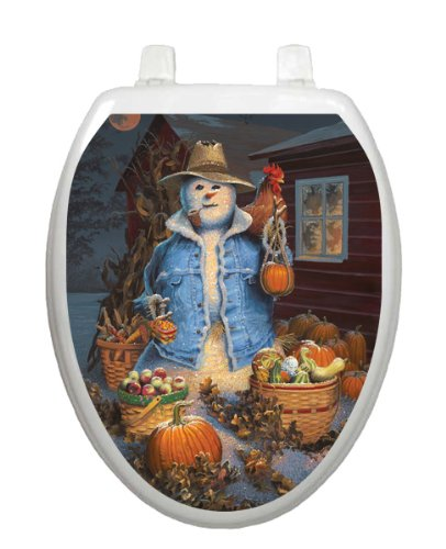Autumn Gathering Toilet Tattoo TT-1073-O Elongated Scarecrow Halloween by Toilet Tattoo