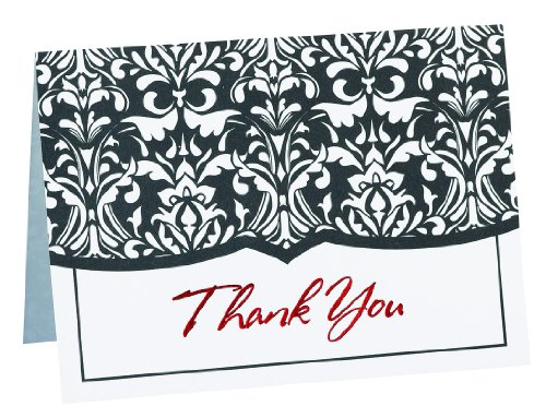 (Hortense B. Hewitt Wedding Accessories Thank You Cards, Black and White Damask, 50 Count)