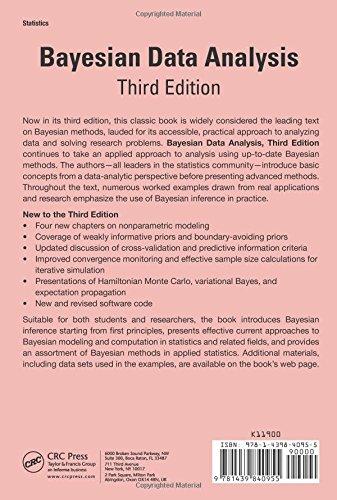 Bayesian data analysis third edition chapman hallcrc texts in bayesian data analysis third edition chapman hallcrc texts in statistical science amazon andrew gelman john b carlin hal s stern fandeluxe Choice Image