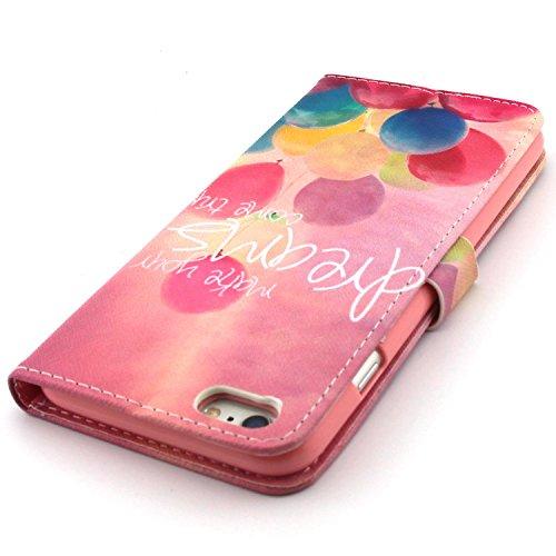Samsung Galaxy S6 Edge Wallet Funda,Carcasa PU Leather Cuero Suave Impresión Cover Con Flip Case TPU Gel Silicona,Cierre Magnético,Función de Soporte,Billetera con Tapa Libro Tarjetas para Samsung Gal globos de colores