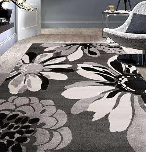 Rugshop Modern Flowers Area Rug 5 3 x 7 3 Gray