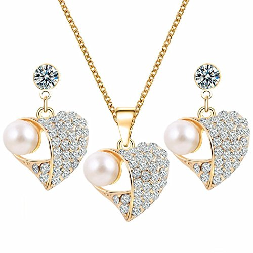 Meharbour Women Casual Rhinestone Artificial Pearl Chain Pendant Necklace Set Jewelry Sets