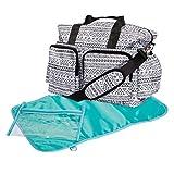 Trend Lab Aztec Deluxe Duffle Diaper Bag, Black/White