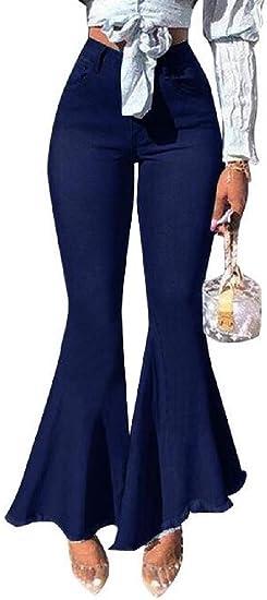 Qiangjinjiu ファッション レディース ハイウエスト フレア ジーンズ ベル ボトム フレア ジーンズ プラス サイズ