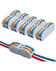 FULARR 15Pcs Premium SPL-2 Lever-Nut Wire Connectors, 2 Way 4 Port Conductor Compact Wire Connectors, Quick Splicing Connector Cable Clamp Terminal Block Spring Connector (Multicolor Lever)