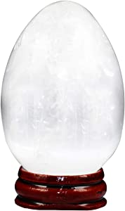 rockcloud Selenite Natural Stone Egg Sphere Figurines with Stand, Polished Stone Sculpture Statue for Office Home Decor