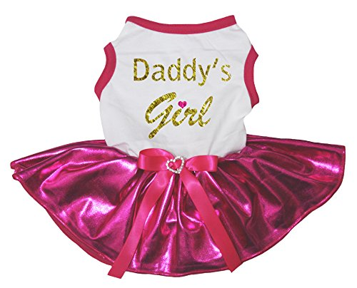Petitebella Puppy Clothes Dress Daddy Girl White Top Bling Hot Pink Tutu (Small) by Petitebella