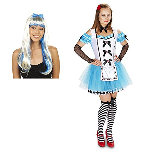 Classic Alice Adult Small Costume with Thigh High Glovelettes, Hair Clip, and Wig Bundle Set (Mad Hatter Alice In Wonderland Costume)