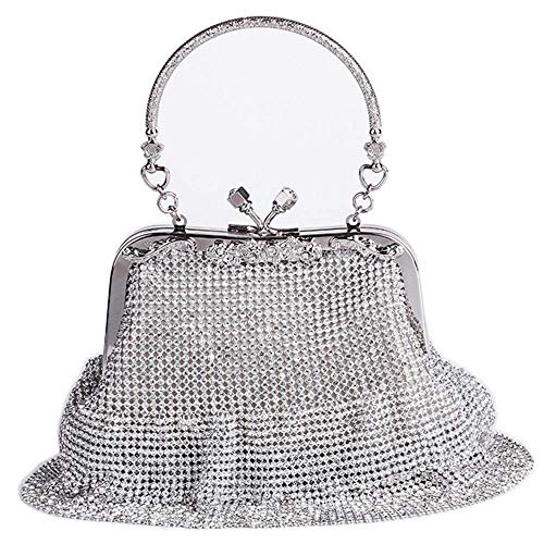 MMYOMI Ladies Silver Sparkly Diamante Crystal Satin Clutch Bag Evening Wedding Handbag Purse Bag