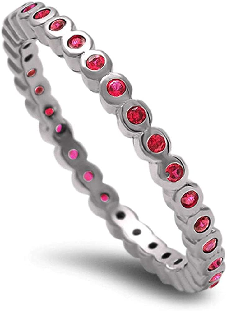 Ruby Eternity .925 Sterling Silver Band Sizes 3-11