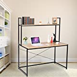 WOLTU Solid Wood Computer Desk for Home Office Use with Long Shelves for Book Storage Review