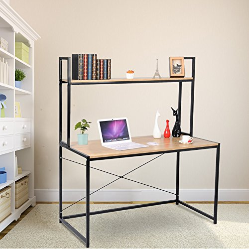 WOLTU Solid Wood Computer Desk for Home Office Use with Long Shelves for Book Storage - Executive L-shaped Computer Desk